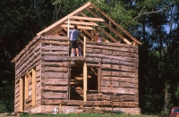 1851 pioneer log cabin during reconstruction